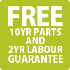Free 10 Year Parts & 2 Year Labour Guarantee
