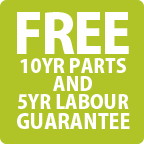 Free 10 Year Parts & 5 Year Labour Guarantee