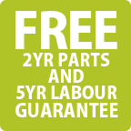 Free 2 Year Parts & 5 Year Labour Guarantee