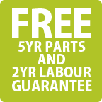 Free 5 Year Parts & 2 Year Labour Guarantee