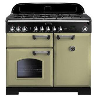 Rangemaster 100910 100cm Range Classic Deluxe Dual Fuel Olive Green Ch