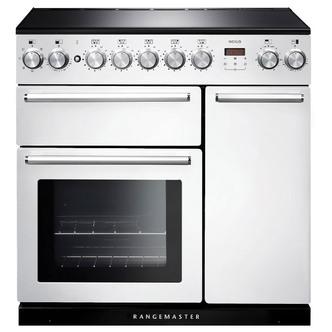 Rangemaster 106200 90cm NEXUS Induction Range Cooker in White Chrome