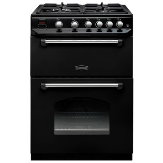 Rangemaster Classic 60 Double Oven Gas Cooker- Black with Chrome Trim Best Price and Cheapest