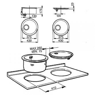 Smeg 10I3P 37 5cm Alba Round Inset Sink in Stainless Steel