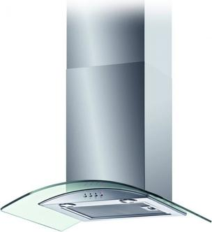 Baumatic BT6 3GL 60cm Curved Glass Chimney Hood in Stainless Steel