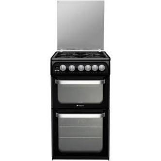 Hotpoint HUG52K 50cm ULTIMA Gas Cooker in Black Double Oven A Rated
