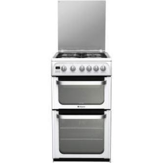 Hotpoint HUG52P 50cm ULTIMA Gas Cooker in White Double Oven A Rated