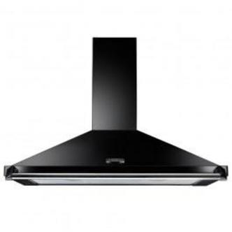 Image of Rangemaster 63050 90cm CLASSIC Cooker Hood in Black with Chrome Rail