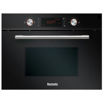 Baumatic BMC460BGL Built In Combination Microwave Oven in Black Glass