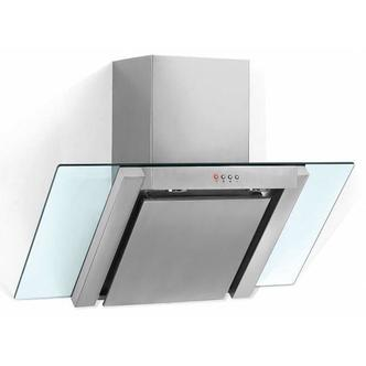 Baumatic BE600GL 60cm Angled Glass Chimney Hood in Stainless Steel