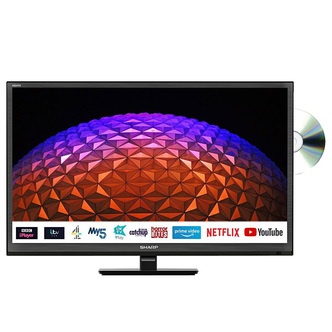 Sharp 1TC24BE0KR1F 24 HD Ready LED Smart TV with DVD Player in Black