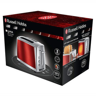 Russell Hobbs 23220 LUNA 2 Slice Toaster in Red High Lift Feature
