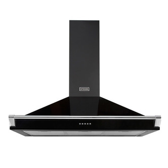 Image of Stoves 444410243 90cm Richmond Chimney Hood in Black with Chrome Rail