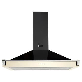 Image of Stoves 444410244 90cm Richmond Chimney Hood in Cream with Chrome Rail