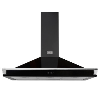 Image of Stoves 444410246 100cm Richmond Chimney Hood in Black with Chrome Rail