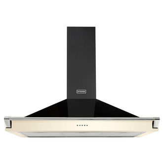 Image of Stoves 444410247 100cm Richmond Chimney Hood in Cream with Chrome Rail