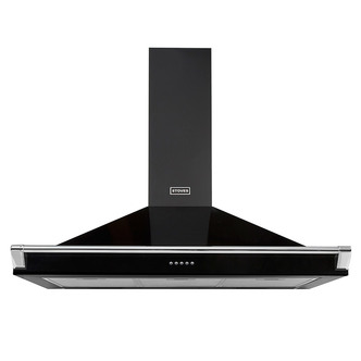Image of Stoves 444410249 110cm Richmond Chimney Hood in Black with Chrome Rail