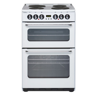 New World 444440033 55cm Electric Cooker in White Double Oven with Gri