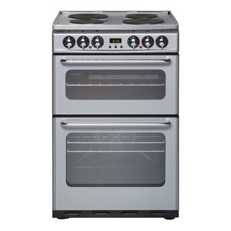 New World 444440034 55cm Electric Cooker in Silver Double Oven with Gr