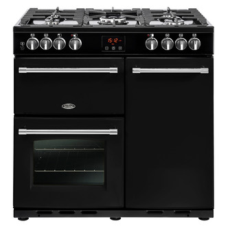 Image of Belling 444444121 Farmhouse 90DFT 90cm Dual Fuel Range Cooker in Black