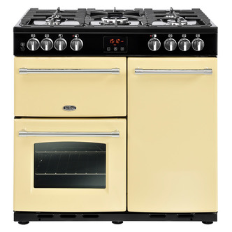 Image of Belling 444444123 Farmhouse 90DFT 90cm Dual Fuel Range Cooker in Cream