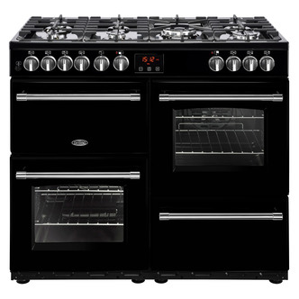 Image of Belling 444444133 Farmhouse 100DFT 100cm Dual Fuel Range Cooker in Bla
