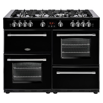 Image of Belling 444444145 Farmhouse 110DFT 110cm Dual Fuel Range Cooker in Bla