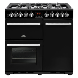 Image of Belling 444444157 90cm Farmhouse Deluxe 90DFT Dual Fuel Range in Black