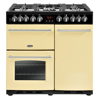 Image of Belling 444444159 90cm Farmhouse Deluxe 90DFT Dual Fuel Range in Cream