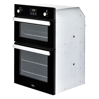 Image of Belling 444444796 Built In Gas Double Oven in Black Programmable Timer