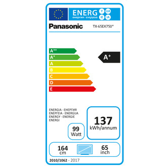 Panasonic TX65EX750B 65 4K 3D HDR UHD Smart LED TV 2400Hz Freeview Pla