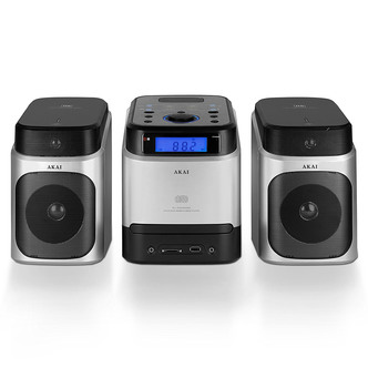 Image of Akai A60002 Micro Hi Fi System in Silver CD FM Tuner with USB Port