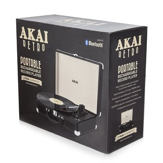 Image of Akai A60011N Bluetooth Rechargeable Turntable in Black 3 Speed
