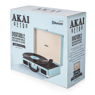 Image of Akai A60011NB Bluetooth Rechargeable Turntable in Blue 3 Speed