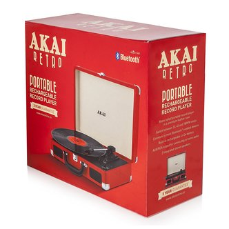 Image of Akai A60011NR Bluetooth Rechargeable Turntable in Red 3 Speed