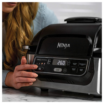 Image of Ninja AG301UK Foodi Health Grill Air Fryer Black Stainless Steel