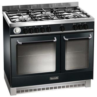 Baumatic BCD925BL 90cm Twin Cavity Dual Fuel Range Cooker in Black