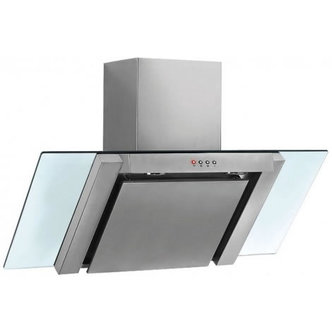 Baumatic BE900GL 90cm Angled Glass Chimney Hood in Stainless Steel