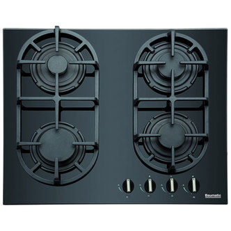 Baumatic BGG60 60cm Gas on Glass Hob in Black Glass Front Controls