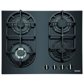 Baumatic BGG64 60cm Gas on Glass Hob in Black Glass Front Controls