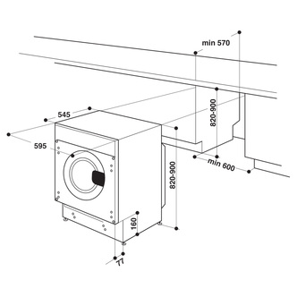 Hotpoint BIWDHG861484 Integrated Washer Dryer 1200rpm 8kg 6kg D Rated