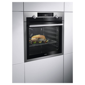 AEG BPS555020M Built In SteamBake Electric Single Oven in St Steel A