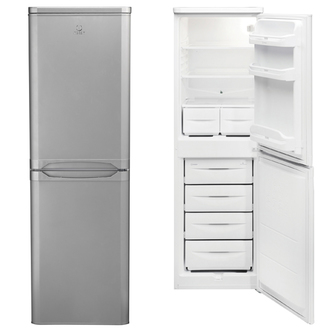 Indesit CAA55SI Fridge Freezer in Silver 1 74m W55cm A Rated