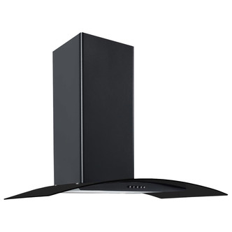 Image of Culina CG70BKPF 70cm Curved Glass Chimney Hood in Black