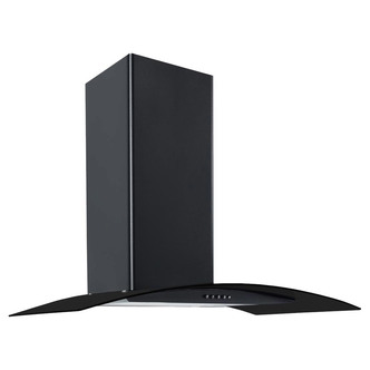 Image of Culina CG90BKPF 90cm Curved Glass Chimney Hood in Black