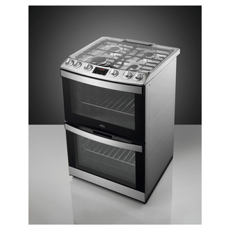 AEG CGB6133CCM 60cm Gas Cooker in St Steel Double Oven Glass Lid