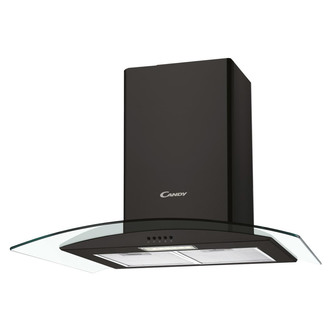 Image of Candy CGM70NN 70cm Curved Glass Chimney Hood in Black