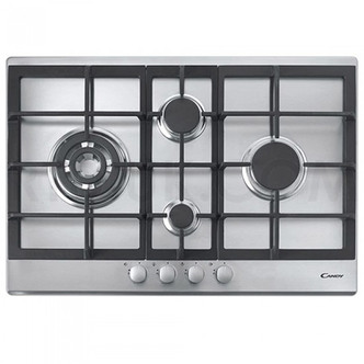 Candy CPG74SQGX 75cm 4 Burner Gas Hob in Stainless Steel
