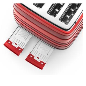 Delonghi CTA4003 RD AVVOLTA 4 Slice Toaster in Red Extra Lift Function