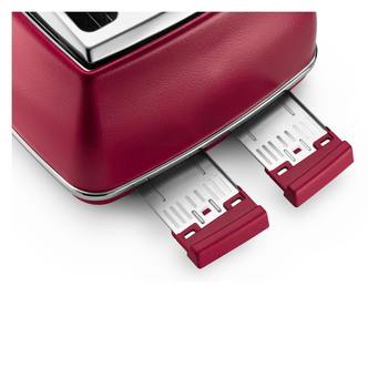 Delonghi CTOE4003 RD Icona Elements 4 Slice Toaster in Red Extra Lift